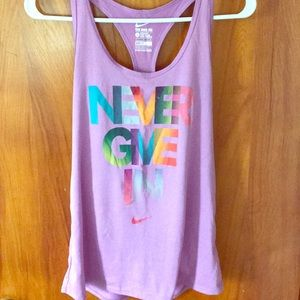 "Nike ""Never Give In"" dri-fit tank"
